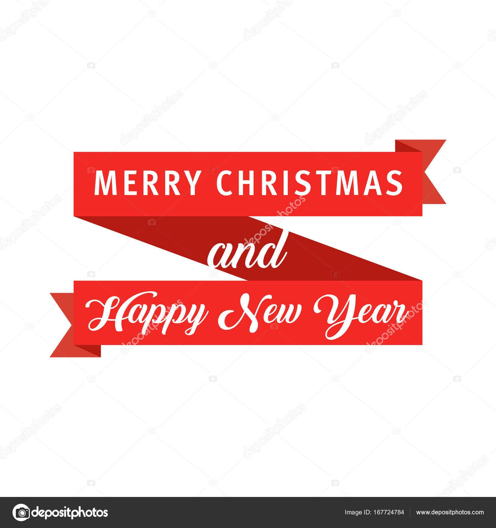 Frohe Weihnachten Band.Rotes Banner Band Frohe Weihnachten Und Happy New Year Modernen