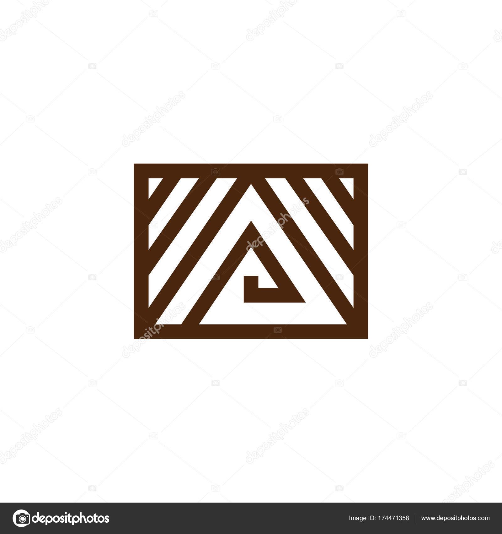 Dreieck-Logo mit Linien, die isoliert auf weißem Hintergrund ...