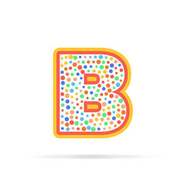 Letter b with group of dots and stroke vector icon. Sign design template. Logo design vector illustration isolated on white background