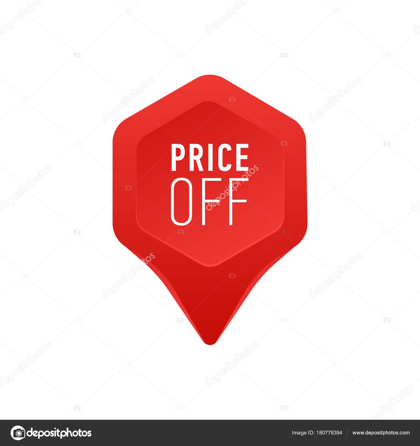 f5ec1dd08 Indicador para la venta o el precio de descuento de etiqueta icono rojo  punto flecha en la ilustración de Vector de fondo blanco oferta especial  signo de ...
