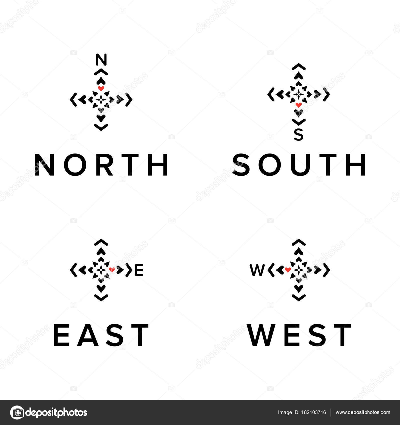 Dirección creativa logos conjunto. Norte, sur, este, símbolos de ...