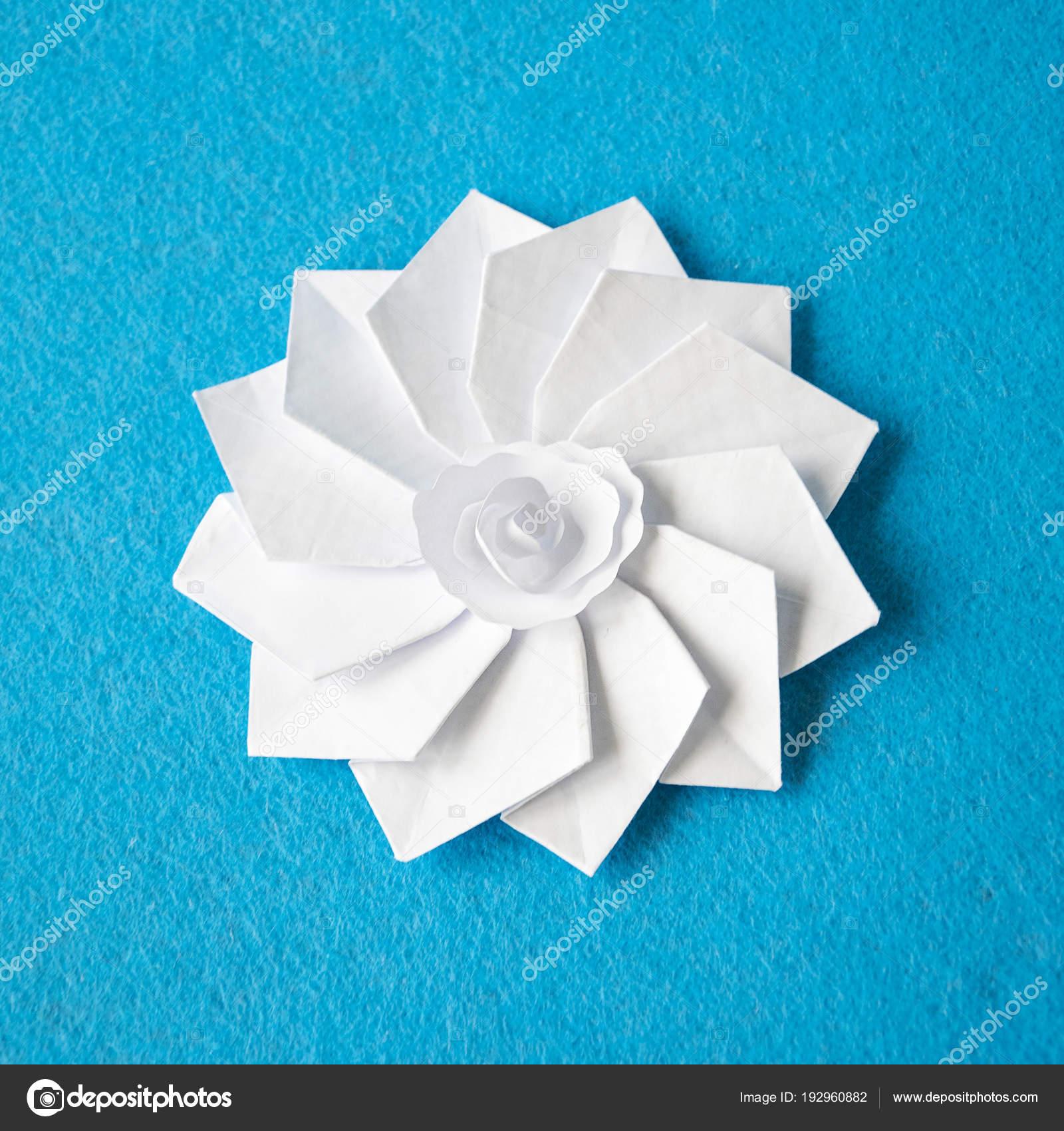 Handmade Origami White Paper Flower Stock Photo Plahotya 192960882