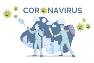 Coronavirus banner template. Medical workers in protective masks and suits fighting coronavirus vector flat illustration.