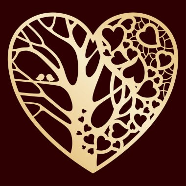 Openwork golden heart with a tree inside. Laser cutting or foiling template.