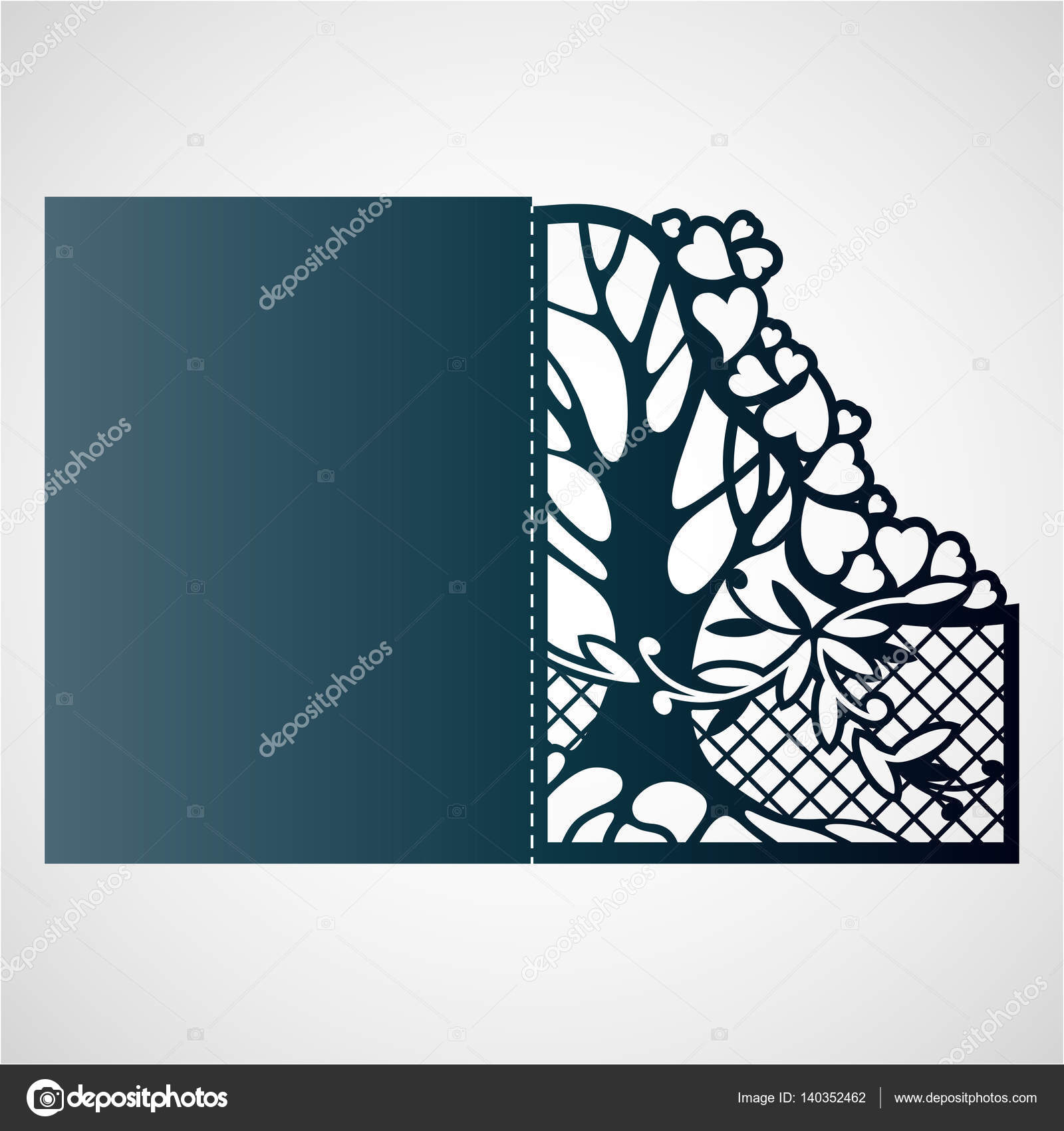 Marco Calado Con árbol Y Corazones Vector De Stock