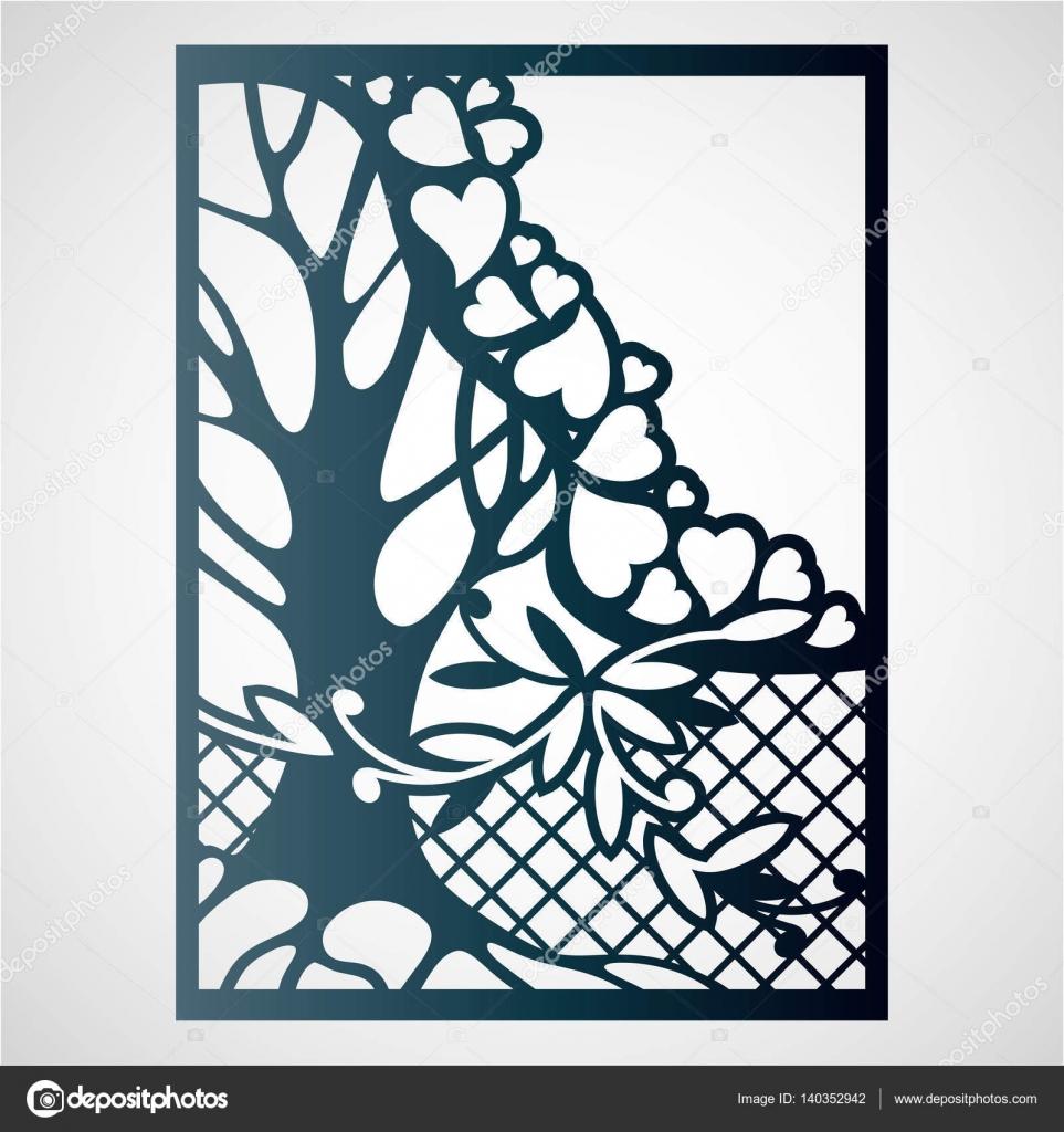 Vectores Tarjetas Caladas Tarjeta Calada Con árbol Y