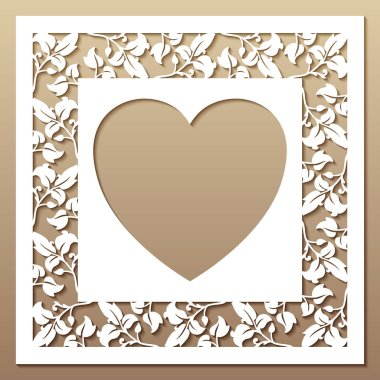 Openwork square frame with leaves and heart.