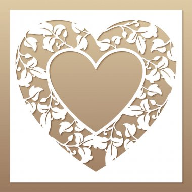 Openwork white frame with heart and leaves. Laser cutting template.