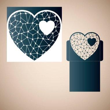 Openwork heart with gossamer. Laser cutting template.