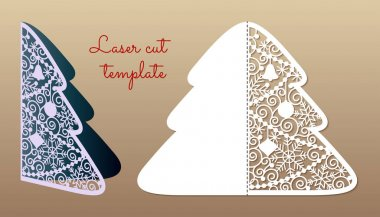 Openwork Christmas tree. Laser Cutting template.