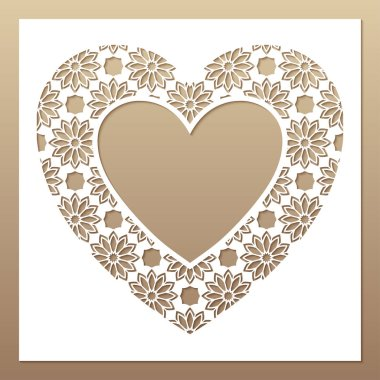 White frame with openwork heart. Laser cutting template for greeting cards.
