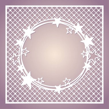 Openwork square frame with wreath of stars. Laser cutting template.