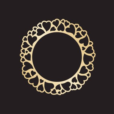 Openwork golden frame with hearts. Laser cutting vector template