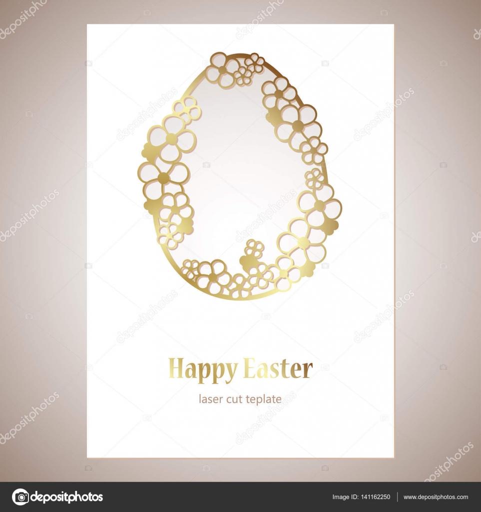 Tarjeta Calada Oro Huevo De Pascua Con Flores Y Espacio Para