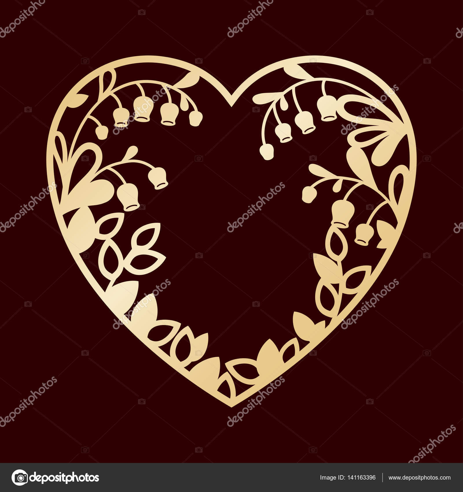 Silhouette of the heart with lilies of the valley. Laser cutting ...
