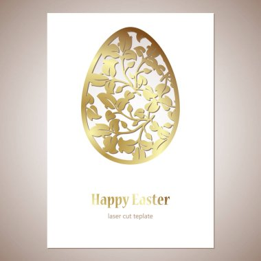 Card with golden openwork Easter egg with leaves and space for text. Laser cutting template.