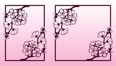 A branch of cherry or sakura blossoms. Laser cutting templates suitable for greeting cards, invitations, covers, menus, interior decorations. stock vector