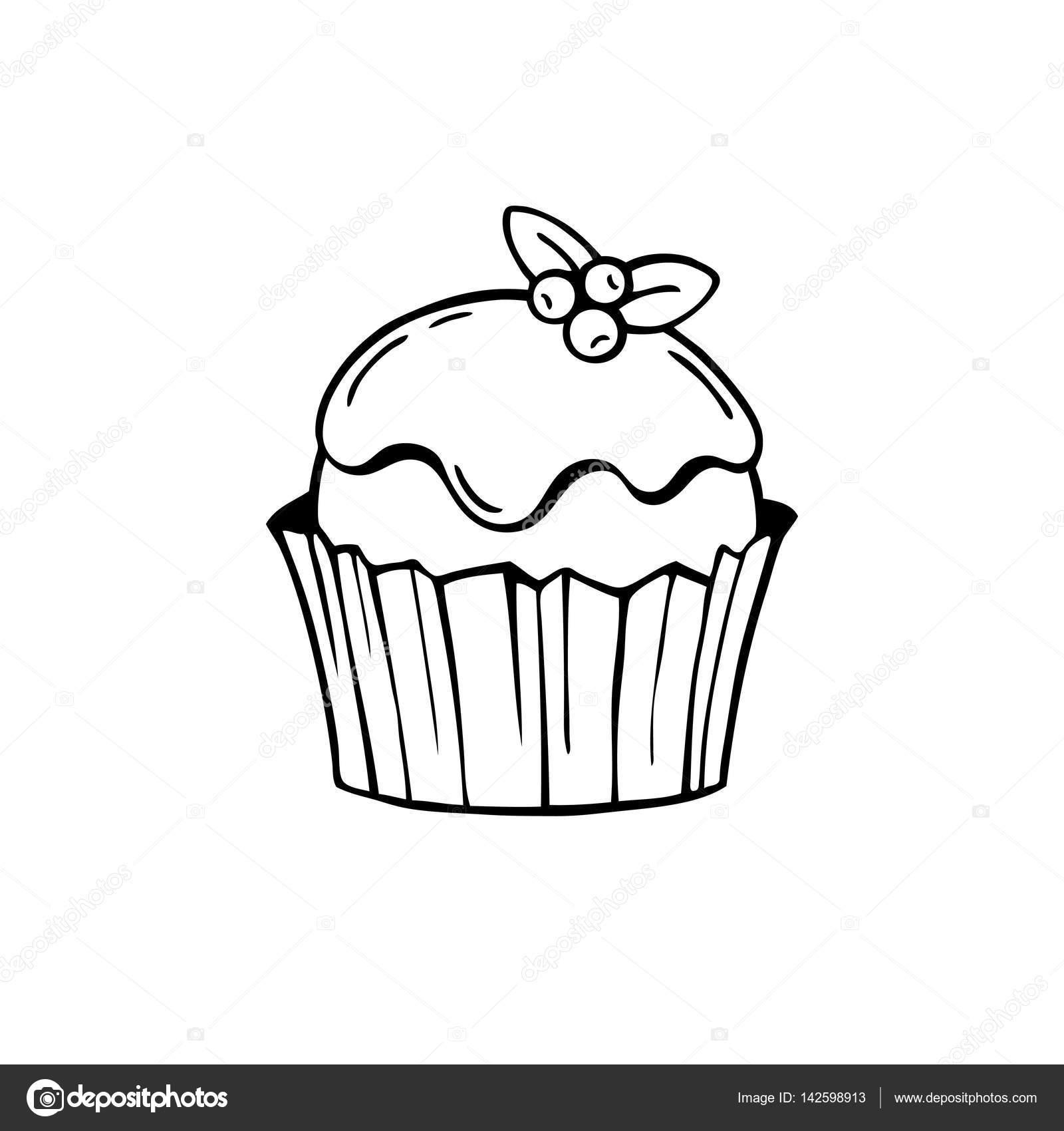 Gâteau Avec Le Glaçage Et Les Bleuets Illustration