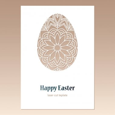 Card with openwork Easter egg and space for text. Laser cutting template.