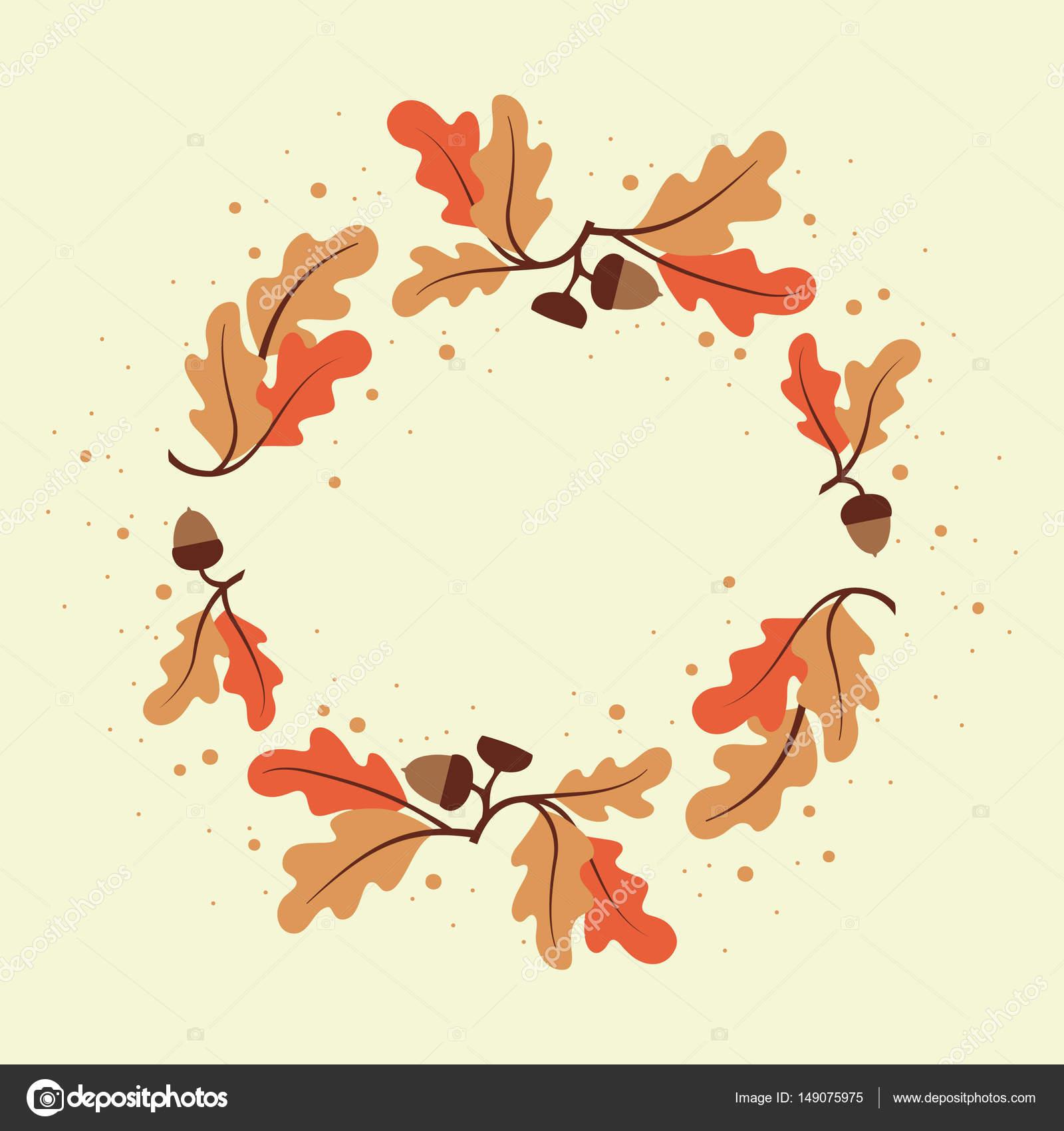 decorative wreath of oak leaves and acorns circular vector ornament