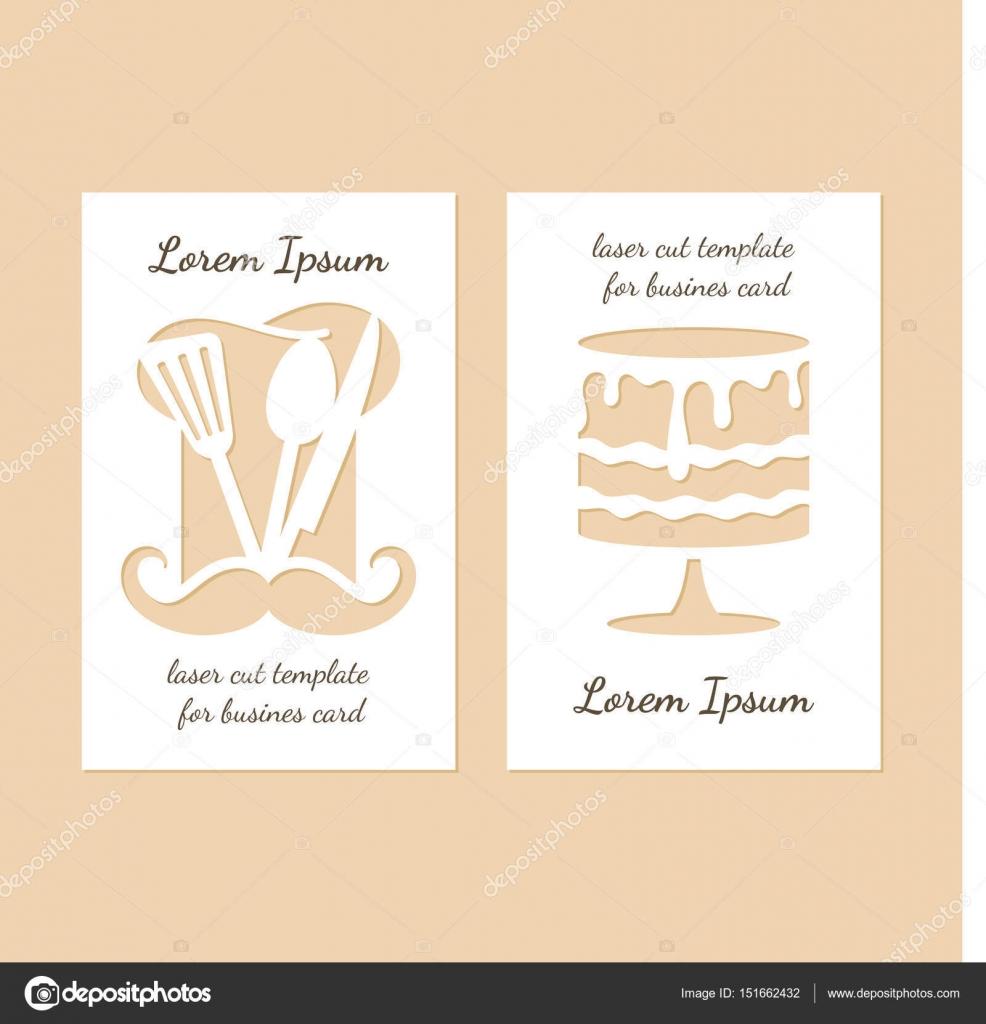 Deux Cartes De Visite Modernes Avec Des Trous En Forme Chapeau Et Gateau Du Chef Illustration Stock