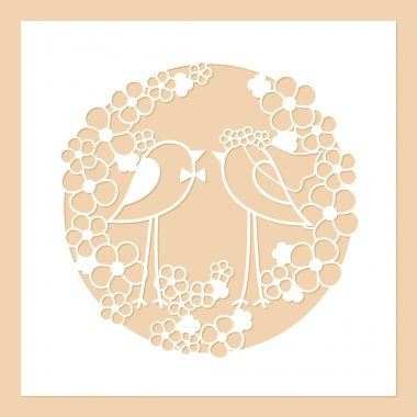 Wedding of two birds among the flowers. Openwork round wreath of flowers. Laser cutting template.