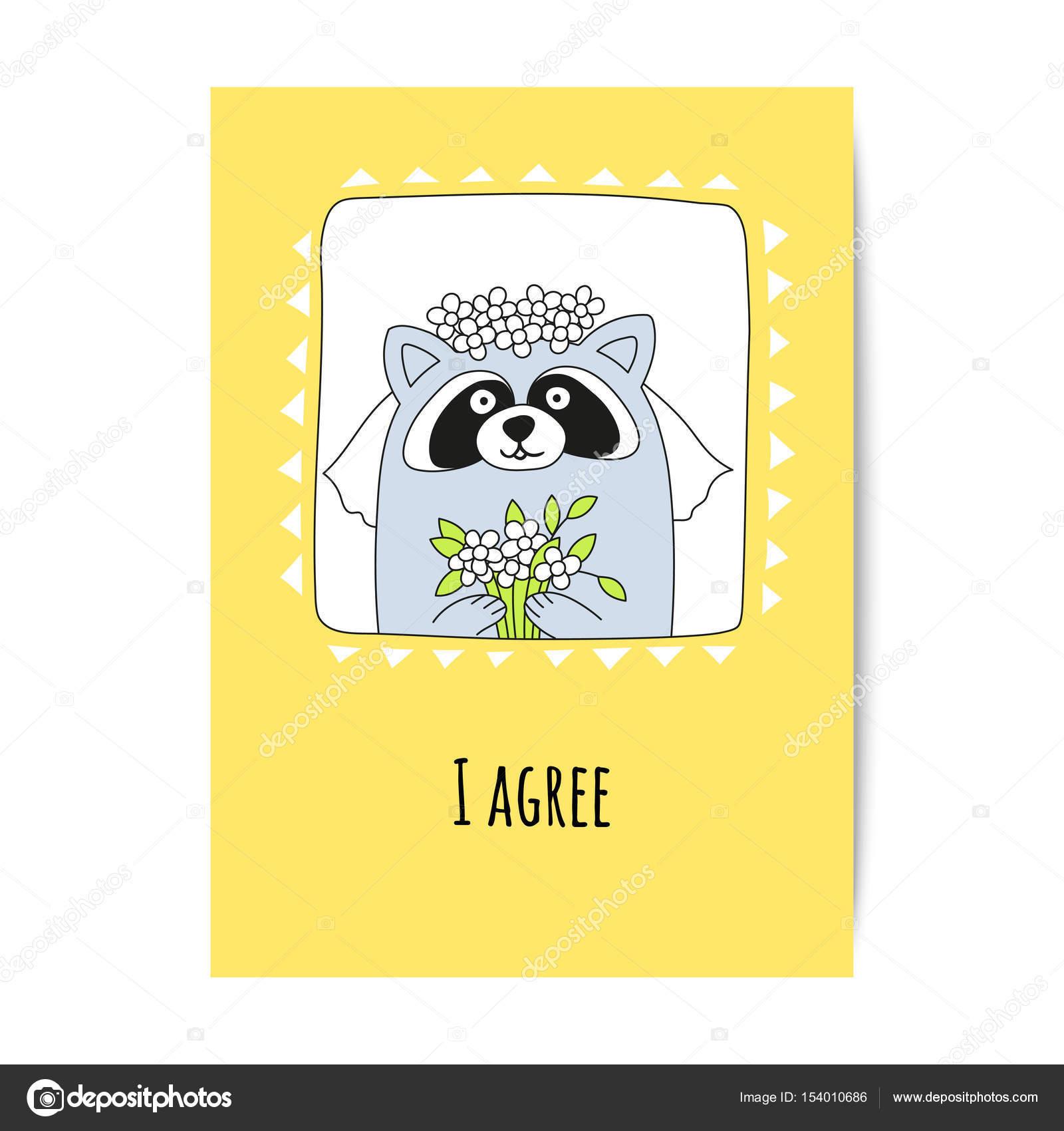 Waschbär Braut Mit Einem Blumenstrauß Und Einer Inschrift Die Ich