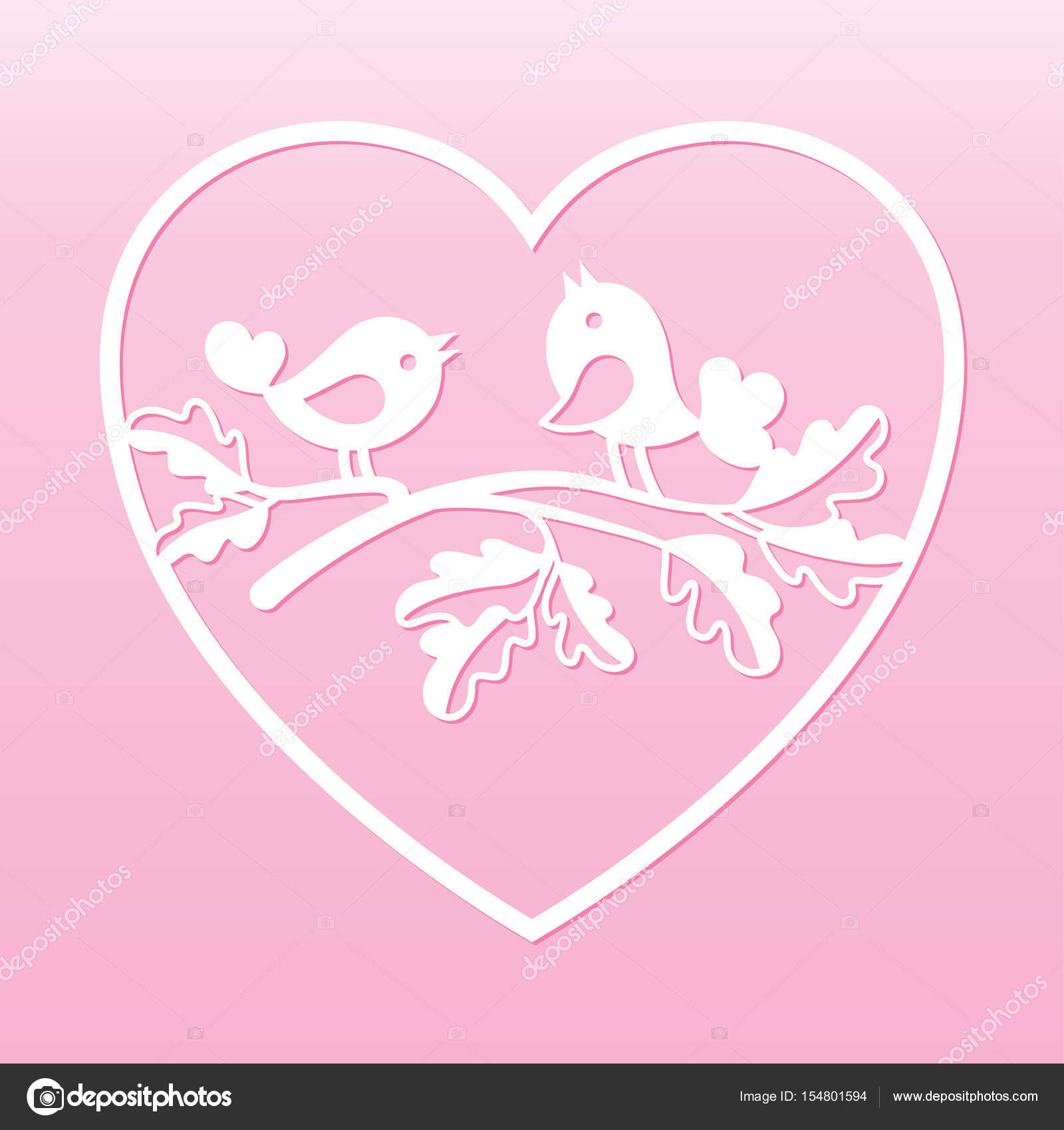 couple of doves on an oak branch inside the heart laser cutting template for greeting cards envelopes wedding invitations interior elements vector by