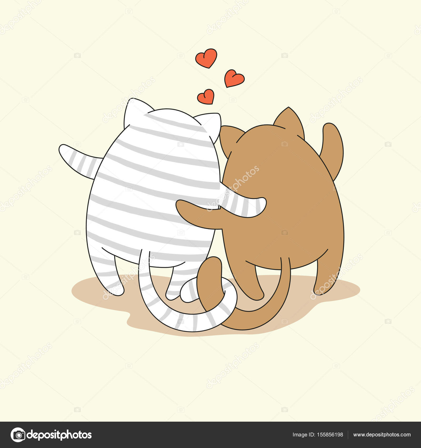 043e016865b Couple of cartoon hugging cats. Vector illustration is suitable for greeting  cards