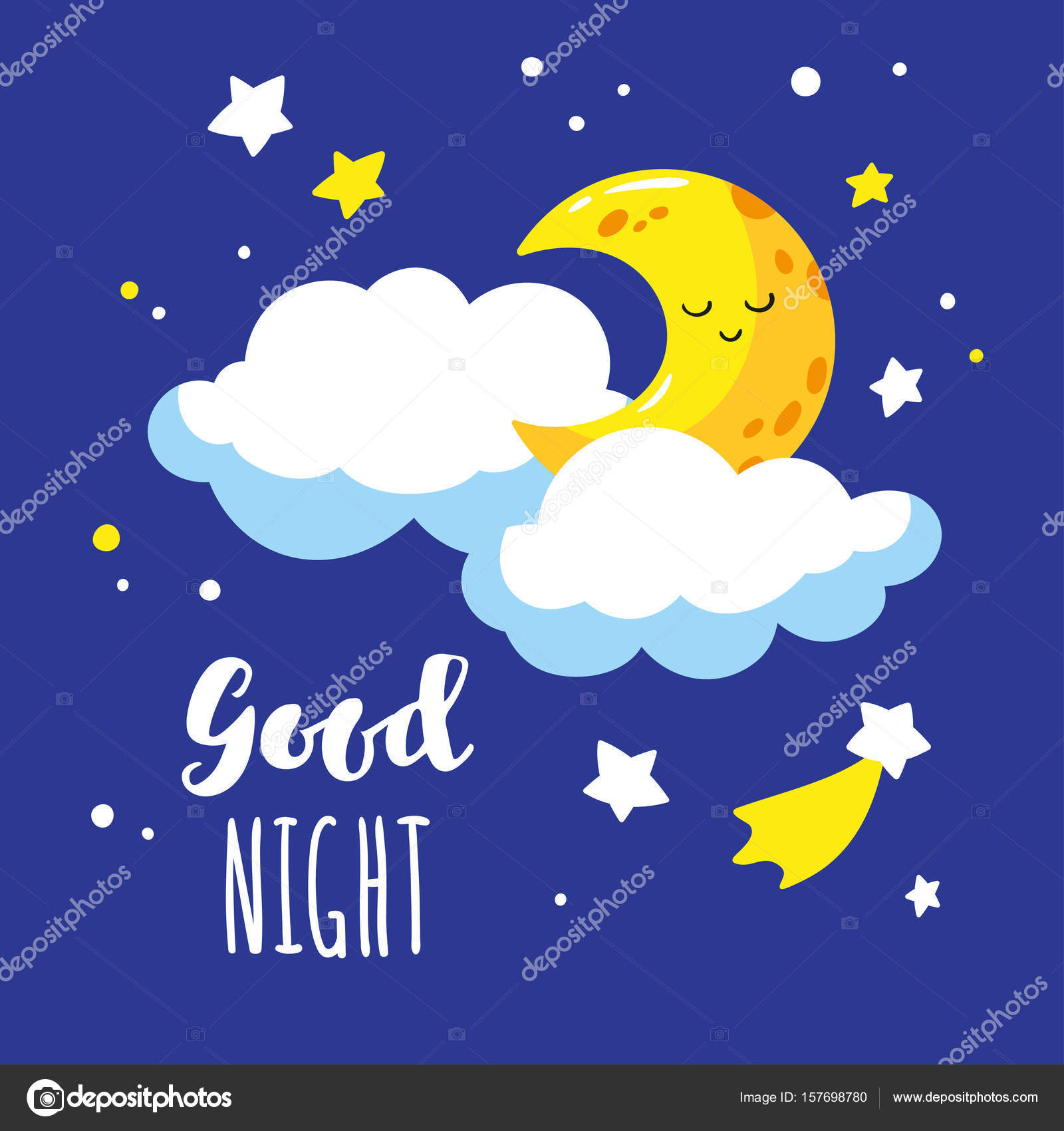 cute cartoon crescent and clouds in the night sky handwriting