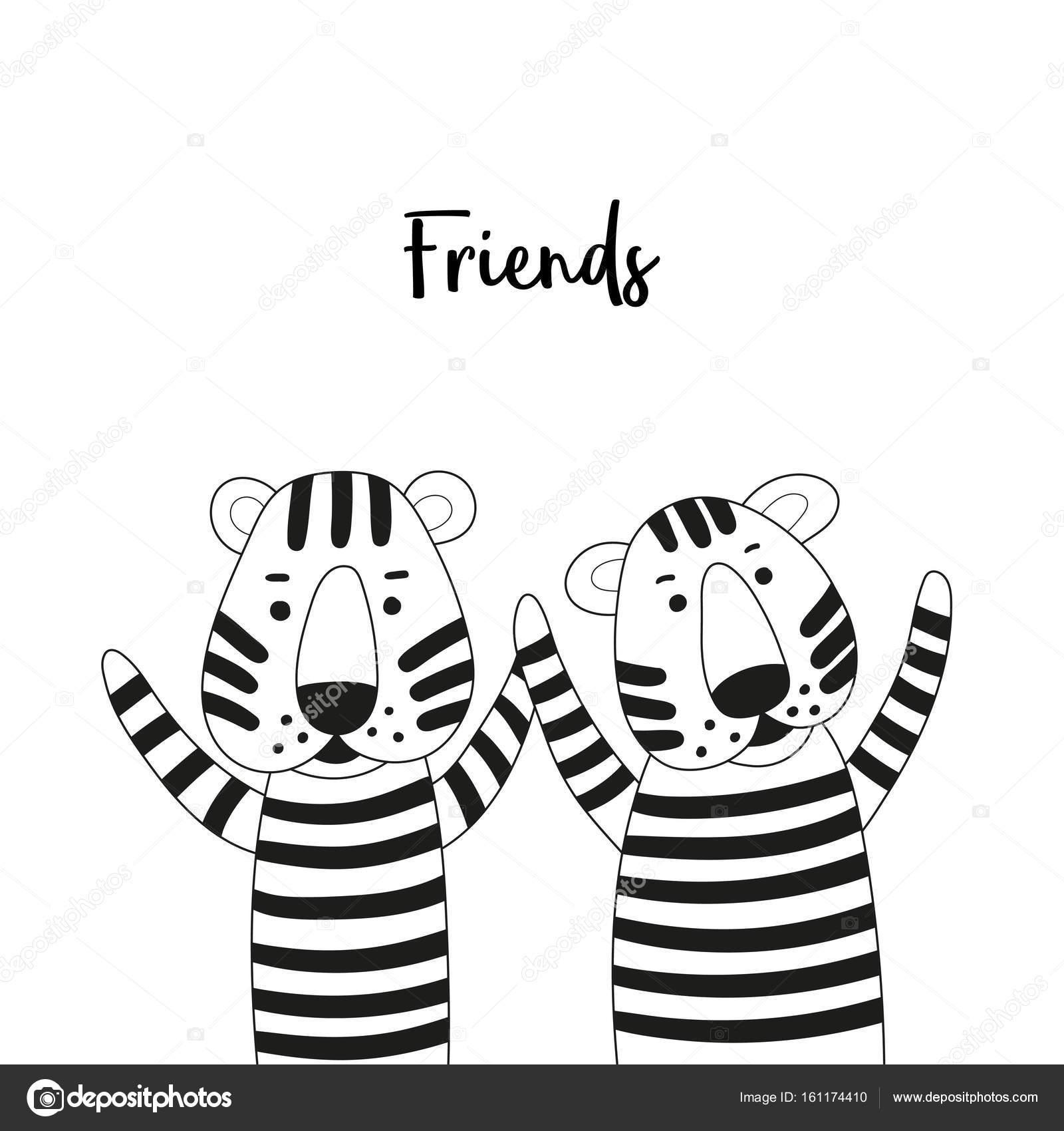 Imagenes Dos Amigos Hablando Para Colorear Dos Amigos De Tigres