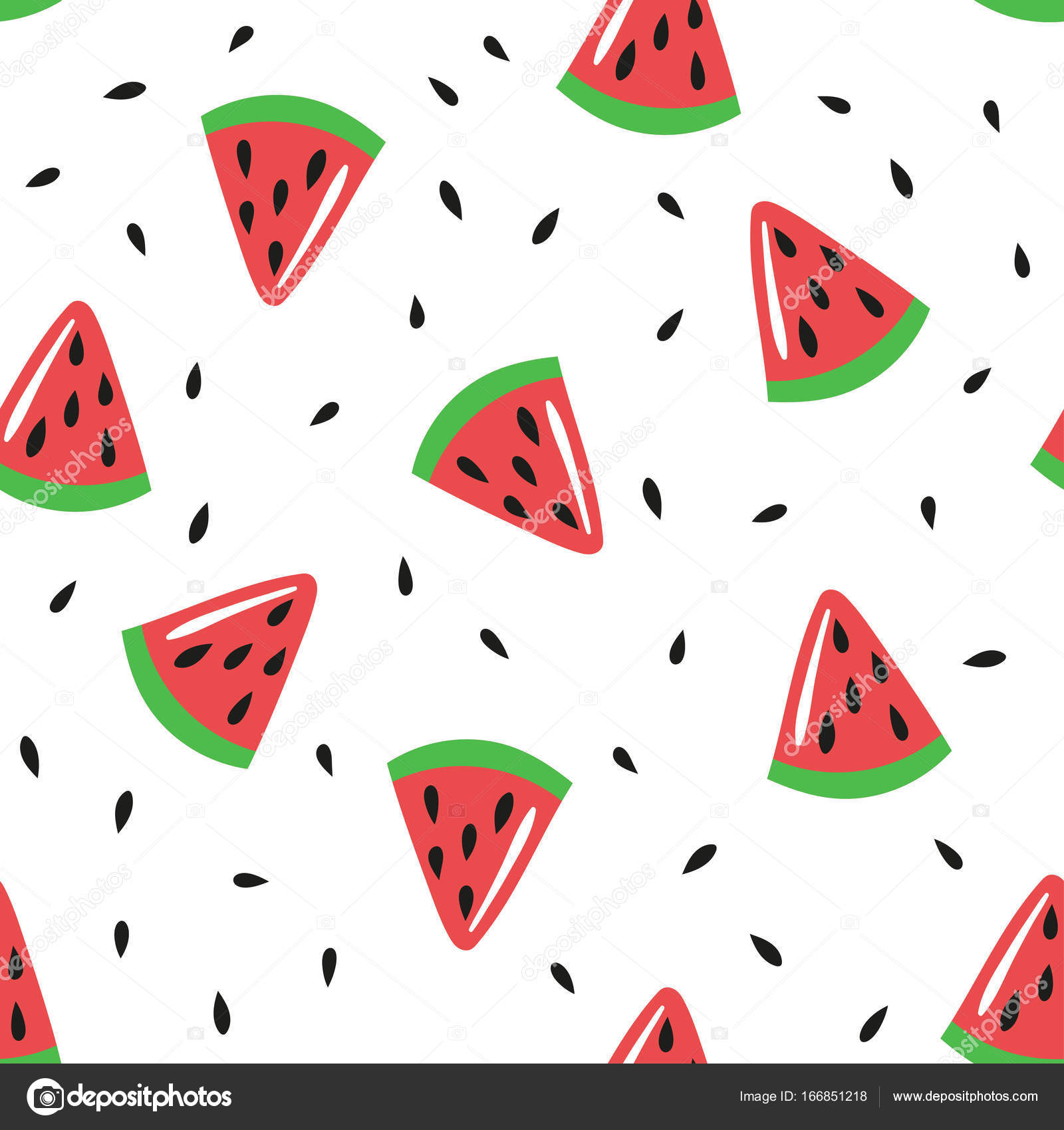 seamless pattern with watermelon slices and seeds vector template