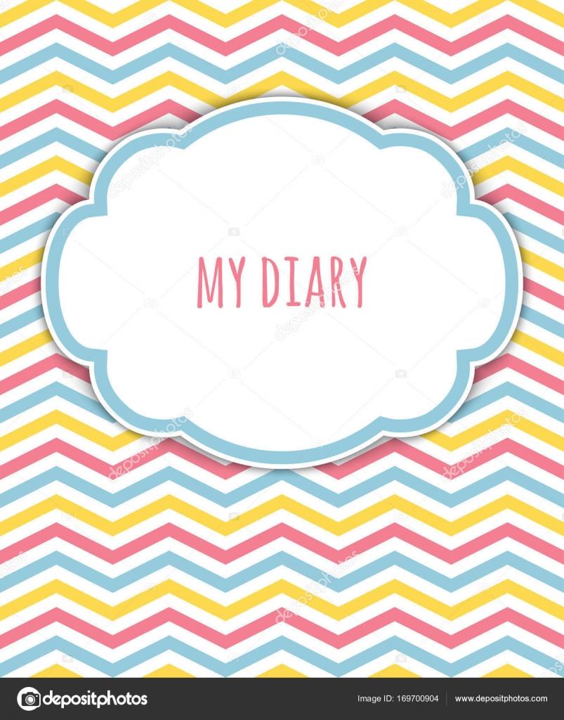 Tagebuch-Abdeckung mit hellen Zick-Zack Muster mit Platz für Text ...