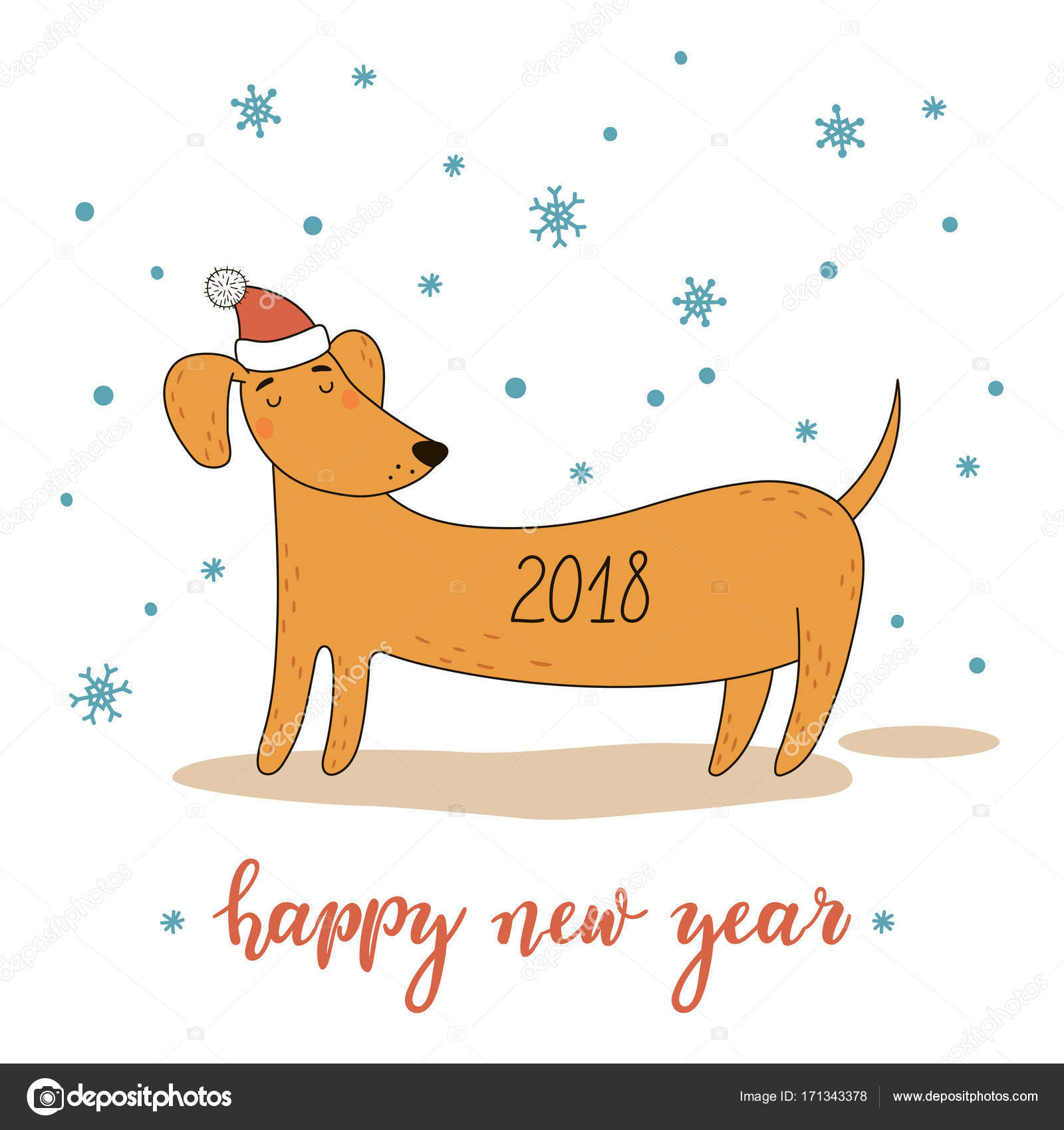 Christmas And New Year Greeting Card With Cute Cartoon Dachshund