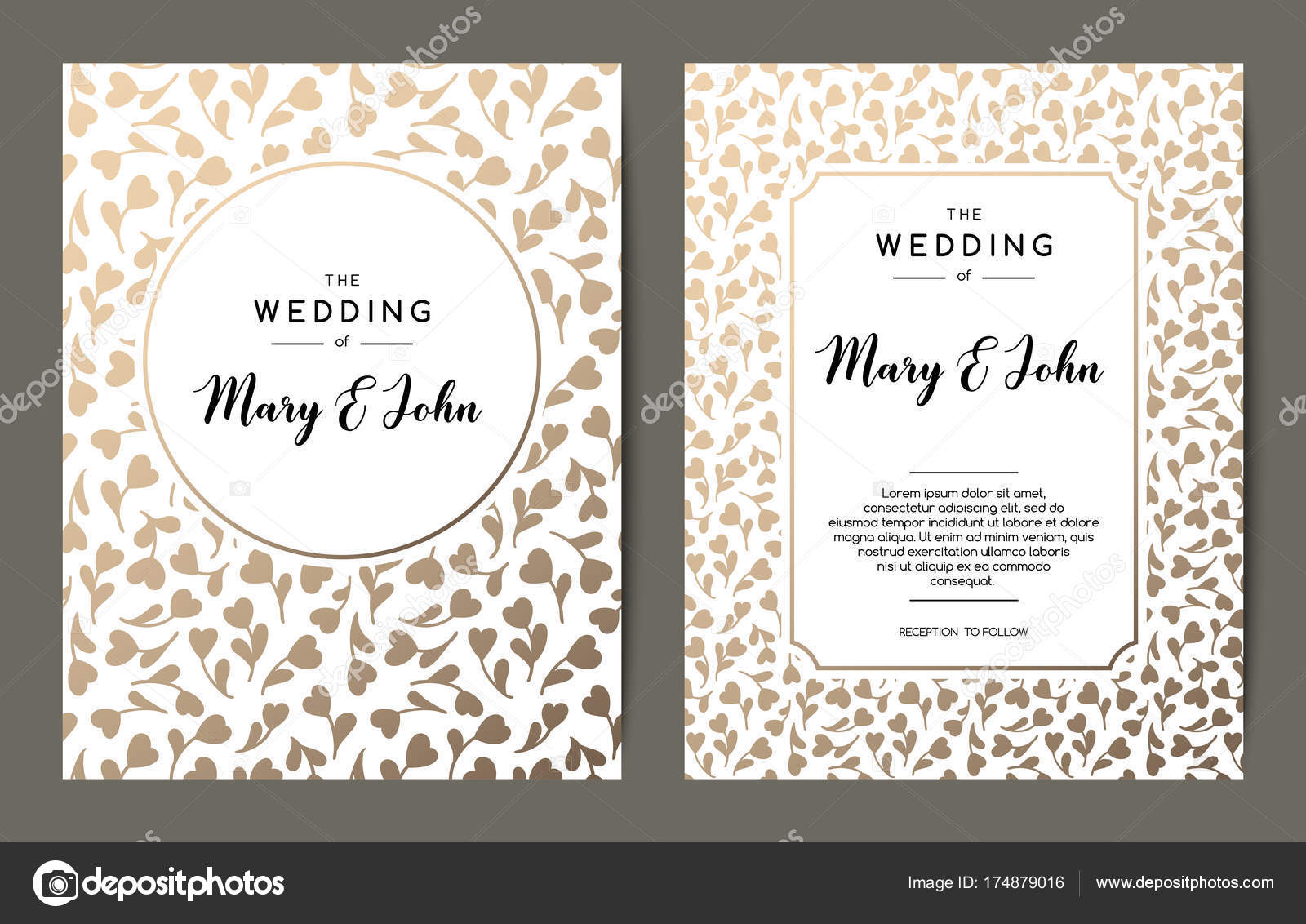 Elegant wedding invitation backgrounds card design with gold floral elegant wedding invitation backgrounds card design with gold floral ornament vector decorative templates vector by pravdinal stopboris Gallery