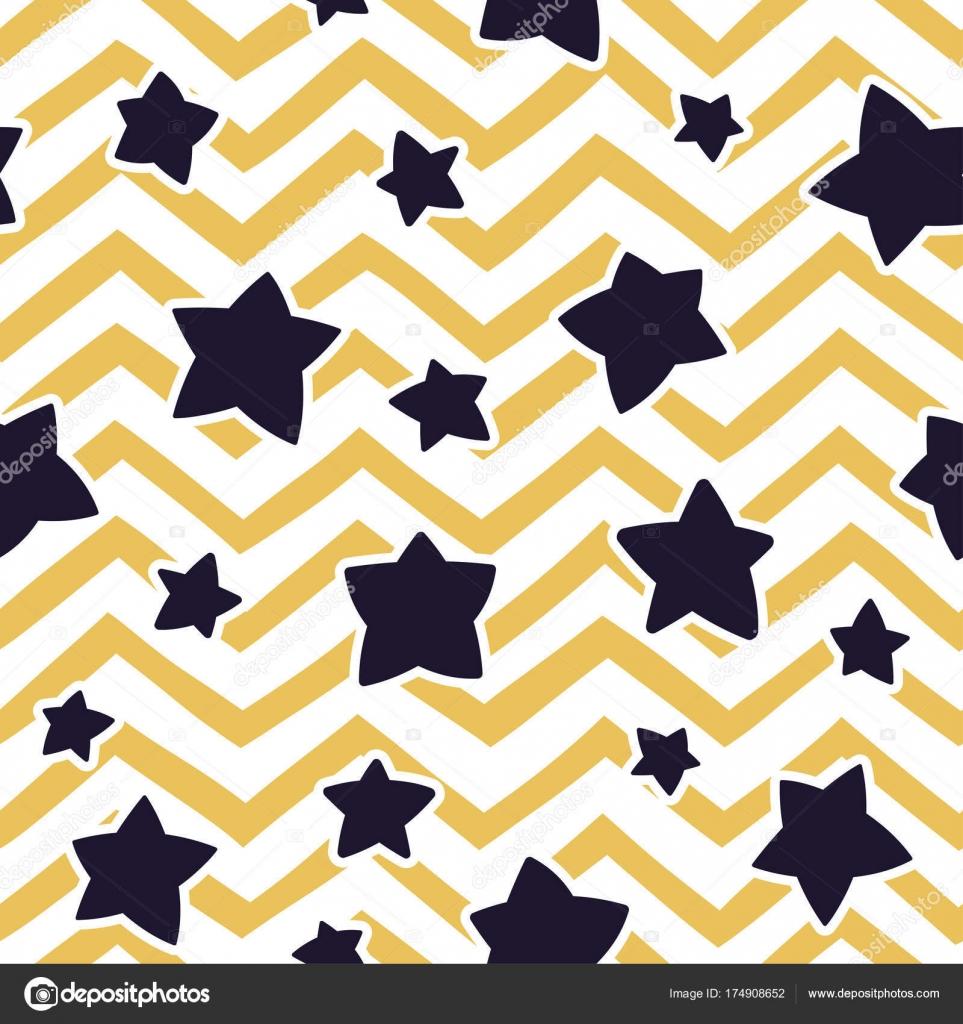 Nahtlose Muster mit Sternen und Zick-Zack-Muster. Vektor-Vorlage ...