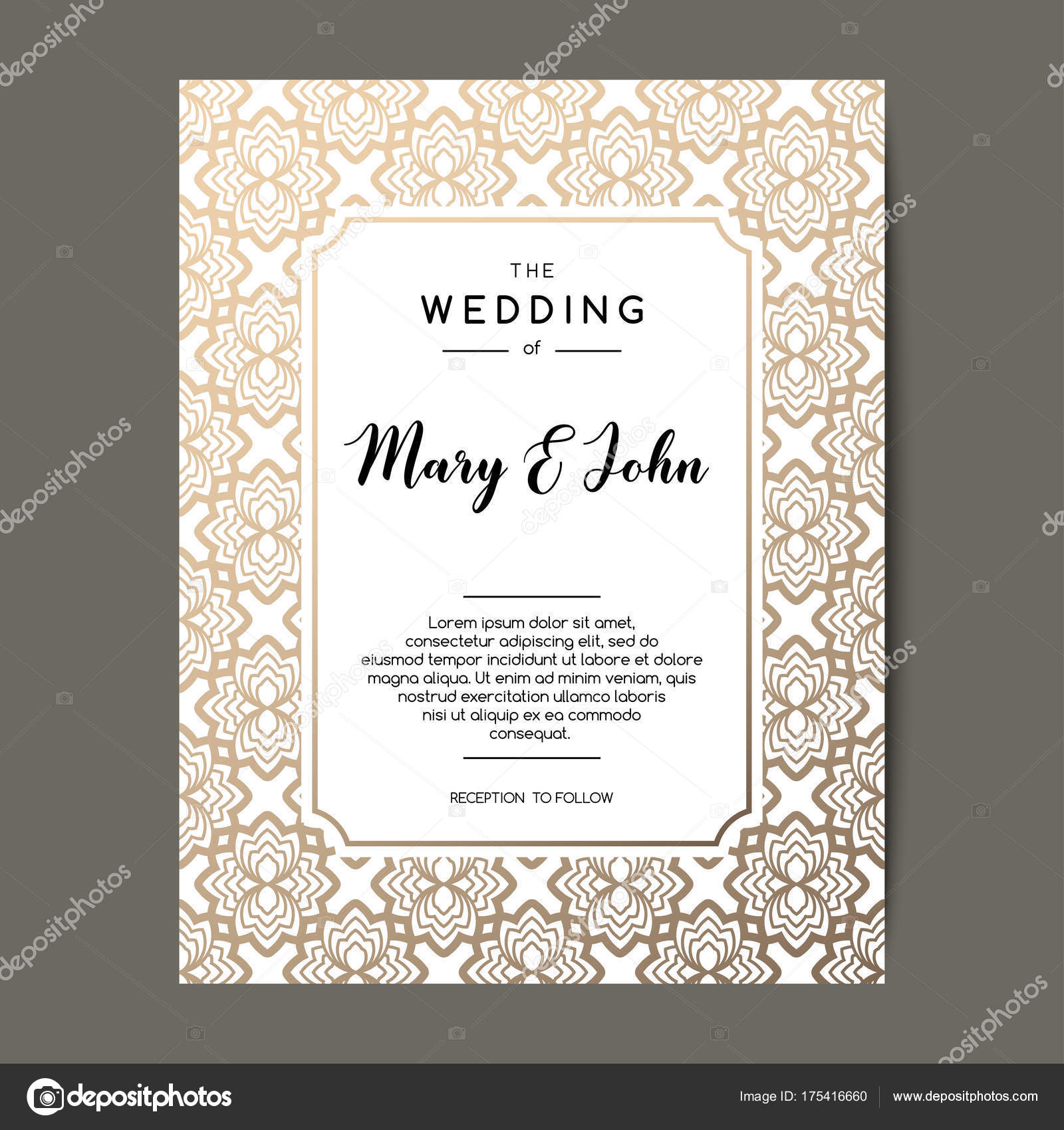 Elegant wedding invitation background. Card design with gold floral ...