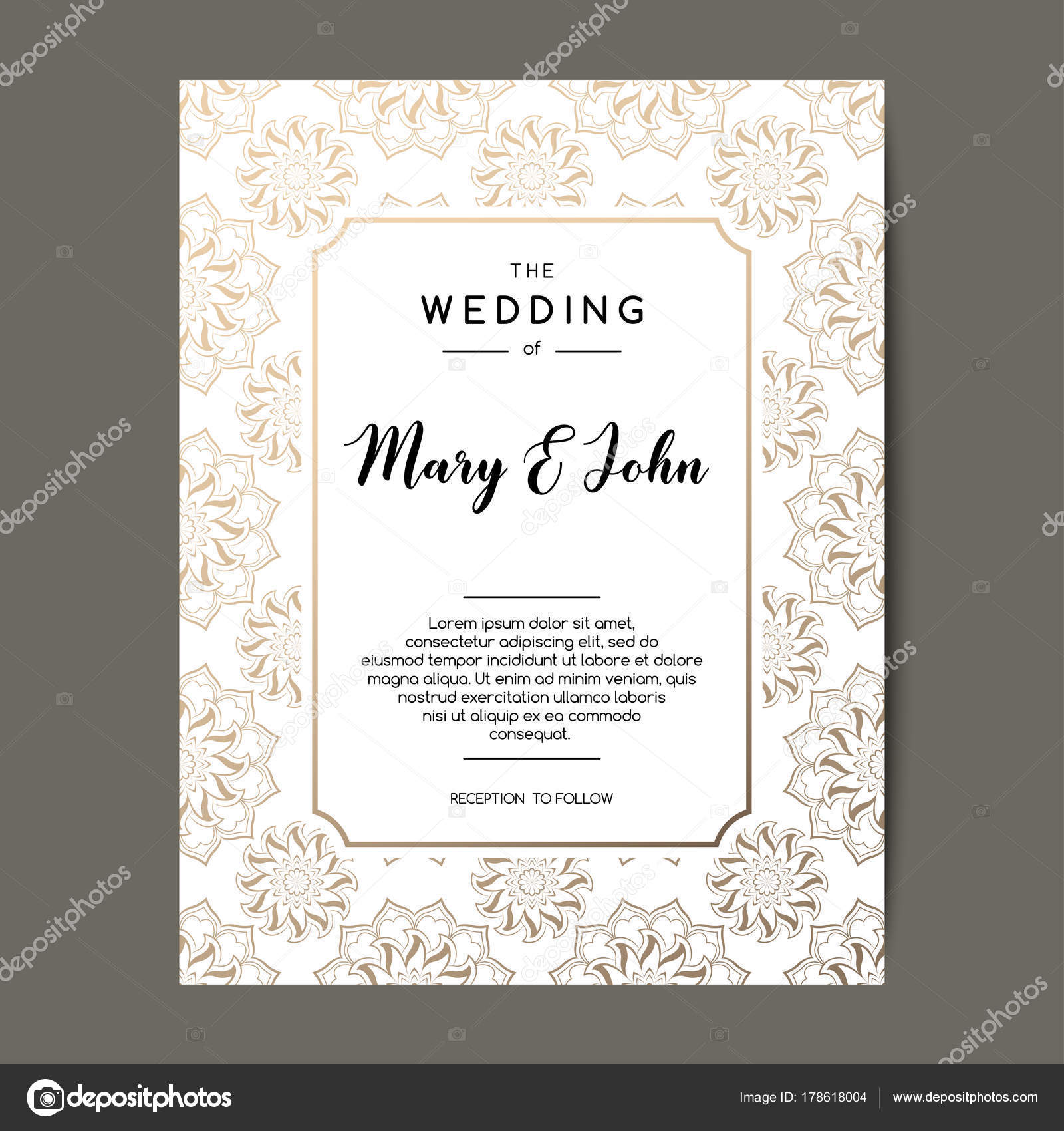 Elegant wedding invitation background card design with gold floral elegant wedding invitation background card design with gold floral ornament vector decorative template vector by pravdinal stopboris Gallery