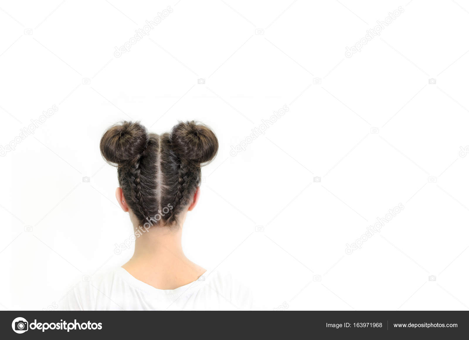 Back View Festive Female Hairstyle Pigtail Fish Bone White