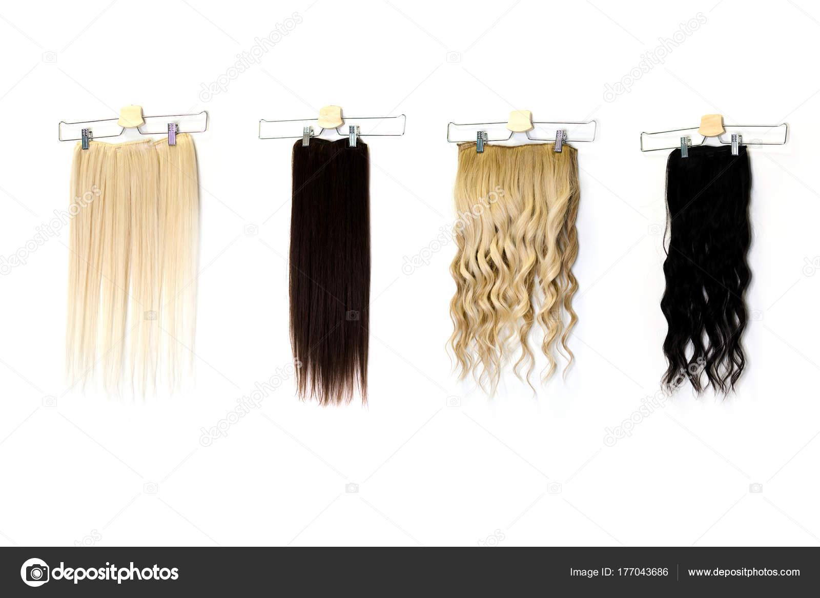 Natural Human Hair Extensions Hung White Wall Beauty Salon Stock