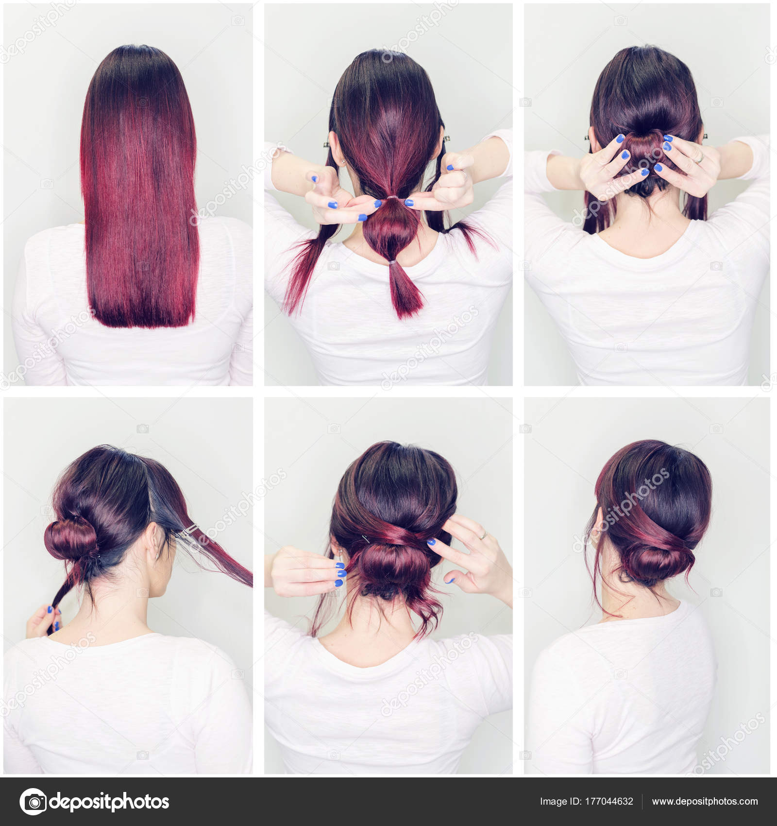 Images Step By Step Hairstyles Hairstyles Tutorial Step Step Woman Showing How Make Beautiful Hair Stock Photo C Focusandblur 177044632
