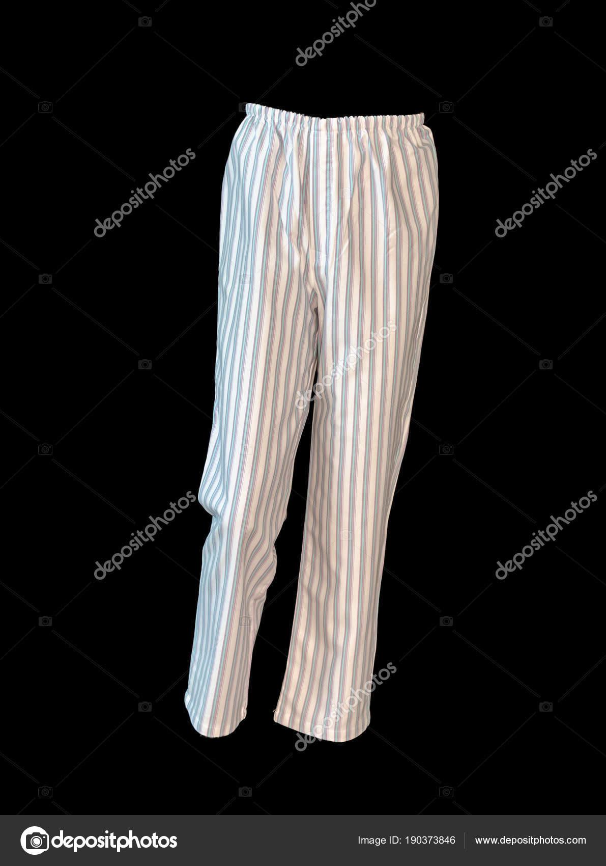 Foto Primer Plano Del Pijama Blanco Pantalones Fondo Negro — Foto de ...