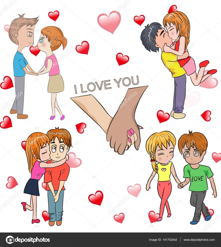 Cartoon Set Of Happy Valentine Day Couple In Love Relationship