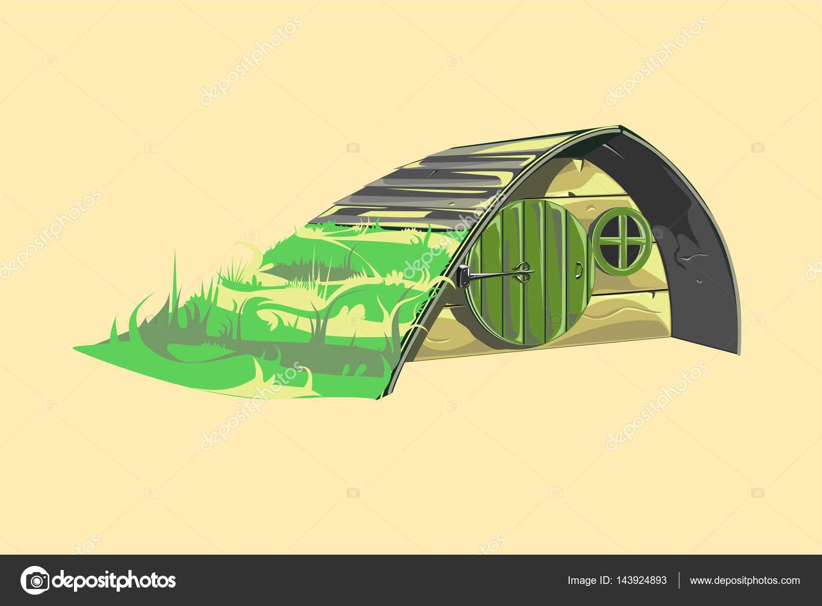 Casa hobbit de cuento de hadas — Vector de stock © d.a.o.wrld #143924893