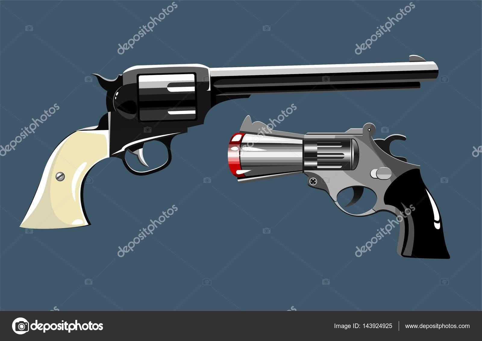 retro guns revolvers stock vector d a o wrld 143924925