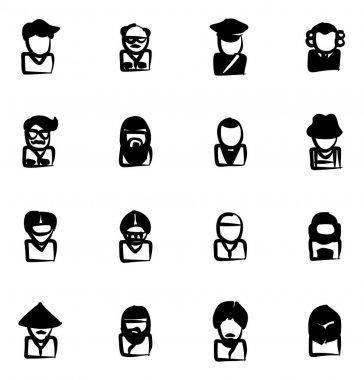 Avatar Icons Set 3 Freehand Fill