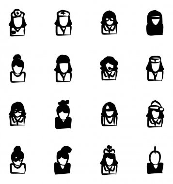 Avatar Icons Set 5 Freehand Fill
