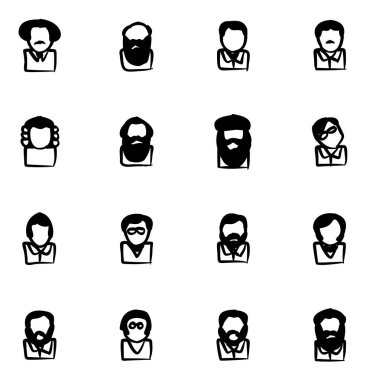 Avatar Icons Famous Scientists Freehand Fill