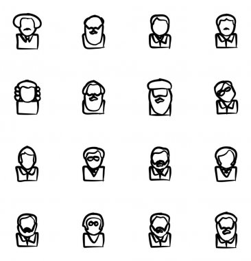 Avatar Icons Famous Scientists Freehand