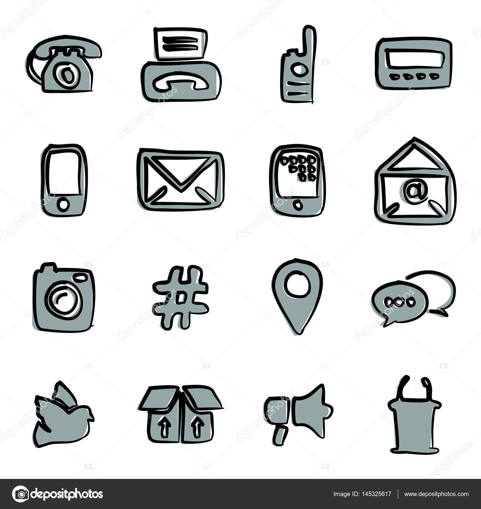 Verschiedene Arten Der Kommunikation Symbole Freihand 2 Farbe